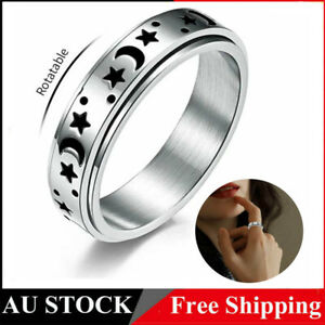 Moon Star Spinner Ring Women Men Stainless Steel Silver Anxiety Ring Size 5-12