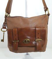 Fossil long live vintage 1954 brown leather crossbody bag shoulder purse