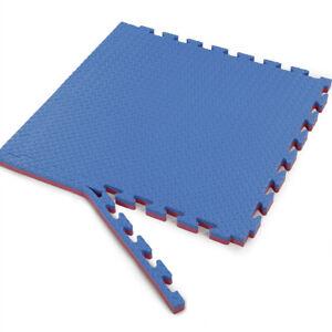 "Xspec 1"" Extra Thick Reversible EVA Foam Gym Mats 12 pcs 48 Sq Ft, Blue & Red"