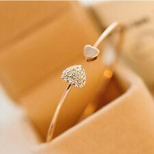 2020 Hot New Fashion Adjustable Crystal Double Heart Bow Bilezik Cuff Opening