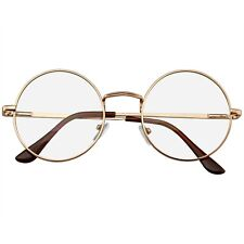 Round Glasses Retro Vintage Classic Metal Clear Lens Round Hippie Glasses