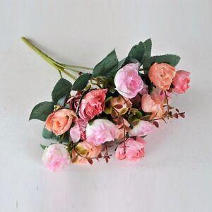 1 BOUQUET 21 HEAD CONCISE ARTIFICIAL ROSE SILK FLOWER LEAF HOME WEDDING DECOR