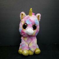 """Ty Beanie Boo Fantasia Yellow Color Sparkle Eye Unicorn Plush Stuff Animal 9"""""""