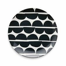 Marimekko inspo Metro 4 Dinner Plates Melamine Black & White Retro Print NEW