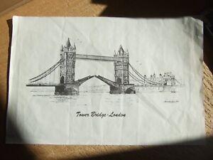 Tower bridge London print J C Hawfin '73  37cm x 24cm