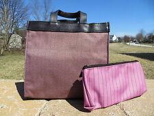NEW - Estee Lauder small tote bag with small makeup case - burgundy herringbone