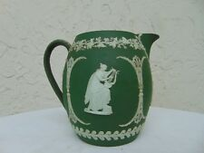 "Antique Wedgwood Jasperware - Dark Green Pitcher - 5-1/2"" Tall - Barrel Shape"