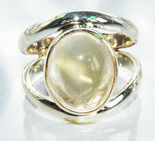 Sterling Silver Traditional Asian Vintage Style Clear Moonstone Ring Size L Gift