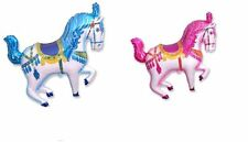 "2 BALLOONS 34"" CAROUSEL horse CIRCUS carnival 1 PINK 1 BLUE party BIRTHDAY baby"