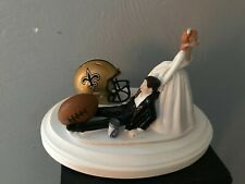 New Orleans Saints Cake Topper Bride Groom Wedding Day Funny Football Theme