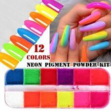 12 Grids Neon Luminous Pigment Fluorescent Powder Nail Glitters Glow In The Dark