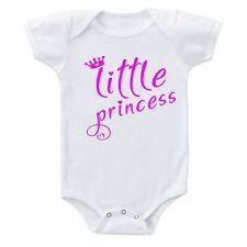 Little Princess Crown & Hearts Pink Font Cute Baby Girl Cotton Bodysuit