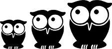 Cute Owl Bird Set Car,Van Camper Bonnet Bumper Window Wall Sticker LSB03