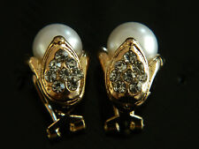 Gold & White Pearls Tulip Flower Stud Bridal Wedding Earrings E211