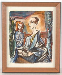 """Boris Deutsch (1892-1978) """"Mother and daughter"""", watercolor, 1969"""