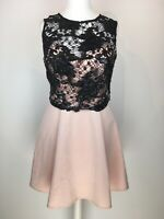 Lipsy Pink & Black Sleeveless Party Dress Lace Sequin Overlay UK Size 12 Used