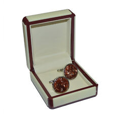 CUFFLINKS Amber Vortex Acrylic Inlay Formal Party Christmas Present GIFT Box