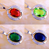 Ruby Spinel & Green Amethyst &Sapphire Quartz Gems Silver Chain Necklace Pendant