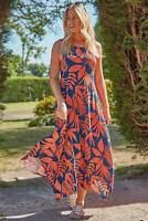 Roman Originals Women Tropical Floral Round Neck Sleeveless Hanky Hem Midi Dress