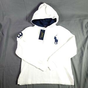 Polo Ralph Lauren Boy's Size 7  Big Pony Shirt Polo Hoodie New #3 White