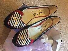 French Sole Love Heart Black Ballerina Shoe Pump 38 / 5