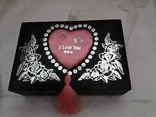 Divinity Party Queen Ladies Watch & Jewellery Gift Set Black Love Heart Box