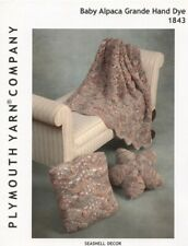 Seashell Decor Afghan & Pillows KNITTING PATTERN Plymouth 1843