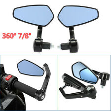 "MOTORCYCLE CAFE RACER 7/8"" GRIPS HANDLE BAR 360° Swivel REARVIEW MIRRORS BLACK"