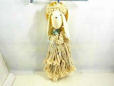 RAG MOP HANDMADE DOLL STRAW HAT RABBIT BUNNY GIRL WHITE BLUE ROSES RIBBON CRAFTS