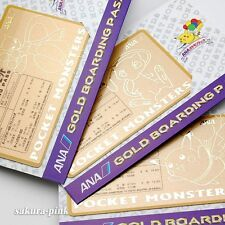Complete Set !! Mewtwo Mew Pikachu ANA Pokemon Jet Original Gold Boarding Pass