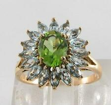 LARGE 9CT GOLD PERIDOT & BLUE TOPAZ MARQUISE  CLUSTER RING FREE RESIZE