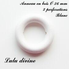 Anneau en bois de 36 mm (XS) avec trous, pour hochet bébé : Blanc