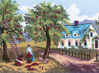 1x Printed Tapestry Thread Canvas Apple Harvest Sewing Craft Tool Hobby Art UK