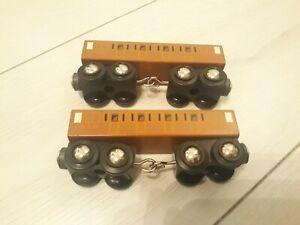 Thomas & Friends Wooden Brio LNER Mallard Coaches x 2. Rare items. Magnetic.