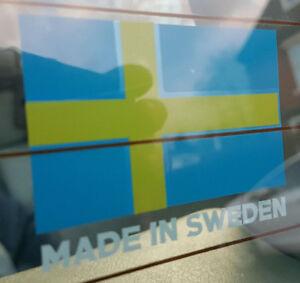 Volvo - Flag + Made in Sweden contour cut vinyl sticker - BLUE - HQ Decal