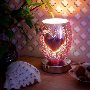 ELECTRIC PLUG IN AROMA TOUCH LAMP WAX MELT WARMER OIL BURNER 3D HEART DESIGN