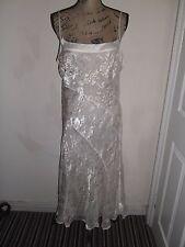 Ladies Dress Monsoon Cream Silk Blend Jacquard Lined Size 16 Ex Con