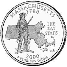 USA quarter coin, 25 cents, Massachusetts, D, 2000