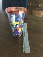 Starbucks Summer Cup Grande Tumbler Cold Cup Birds Parrots With Straw