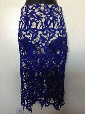 """NEW MISSGUIDED Lace """"Peek a Boo"""" w/Built-in Bottoms Skirt*Cobalt*UK 8/US 4*Sexy!"""