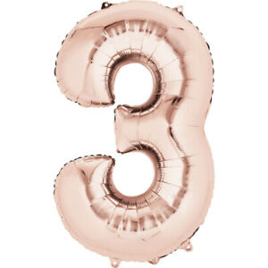Number 3 Rose Gold Giant 35 Inch Supershape Foil Balloon