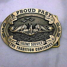 Limited Edition Navy Submarine Silent Service Belt Buckle (Solid Brass)
