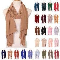 Spring Muslim Women Chiffon Crinkle Long Scarf Wrap Shawl Stole Hijab Headwear