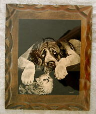 DROGUETT DOG & KITTEN ETCHING ON CARVED WOOD PANEL DOG CAT 1970'S ECLECTIC COOL