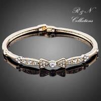 18K Gold Plated Made With SWAROVSKI Austrian Crystal Bowknot Bangle Bracelet