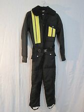 Vintage J.C. Penny Snowmobile Snow Suit Boys size 18 Black w/ Yellow Stripes