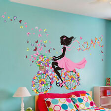 Home Bedroom Wallpaper Decal Sticker Decoration 60*90 Butterfly Cycling Girl NEW