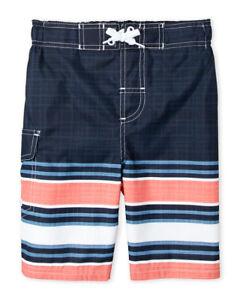 NWT ORIGINAL PENGUIN (Boys 4-7) Navy Stripe Board Shorts
