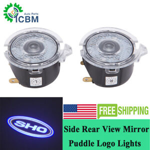 White SHO Logo LED Side Rear View Mirror Puddle Lights for Ford Taurus SHO 10-18