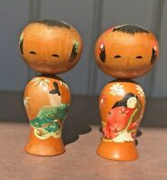 Pair Of Wooden Japanese Style Kokeshi Dolls Hand Painted